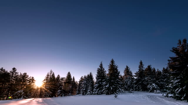 Aurora time lapse in winter mountain video