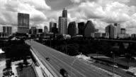 Austin Texas Black and white Aerial Over 1st Street Bridge Downtown ATX Iconic landmark View video