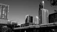 Austin , Texas Downtown Skyline 1st Ave Bridge Black and white 2015 video