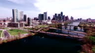 Austin Texas Skyline Downtown Aerial Drone Scene hovering over Town Lake or Lady Bird Lake with a Hipster Effect Over ATX video