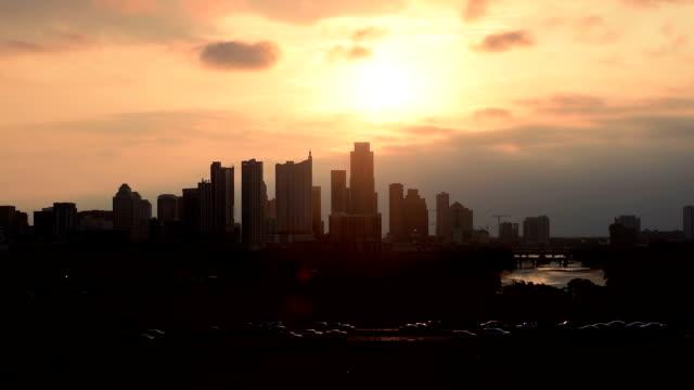 Austin Texas Skyline Timelapse Cars on Mopac Sunrises over Skyline video