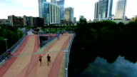 Austin Texas Walk Pedestrian Bridge Downtown View video
