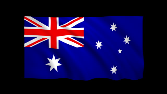 Australia Flag Loopable alpha included - Stock video video