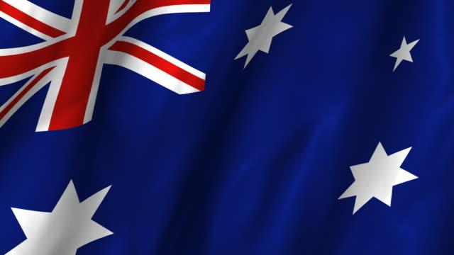 Australia Flag - waving, looping video