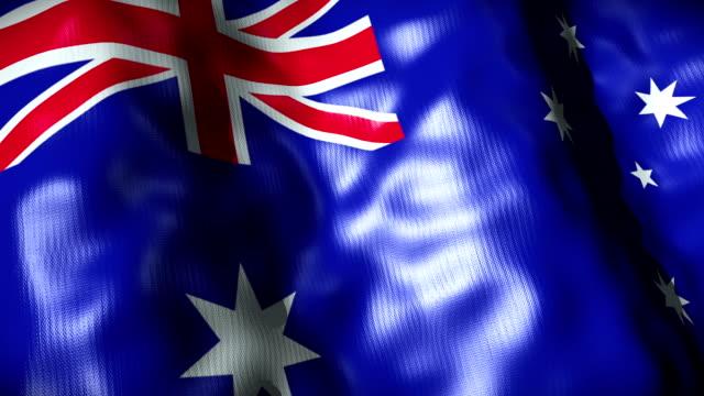 Australia Flag waving, looping video