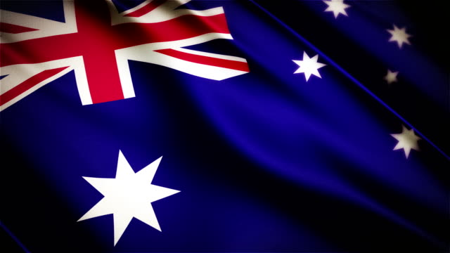 Australia realistic national flag seamless looped waving animation video