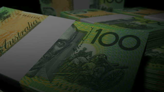 Australian Dollar Banknote Wads Pan video