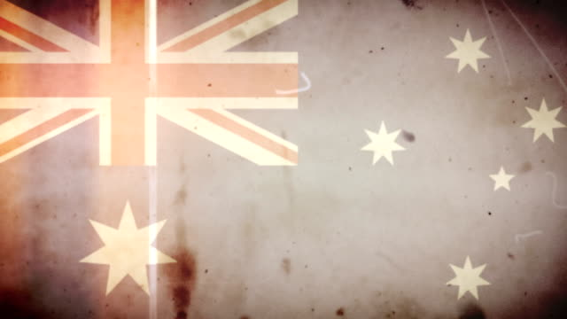 Australian Flag - Grungy Retro Old Film Loop with Audio video