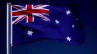 4K: Australian Flag on Flagpole in front of Blue Sky outdoors (Australia) video