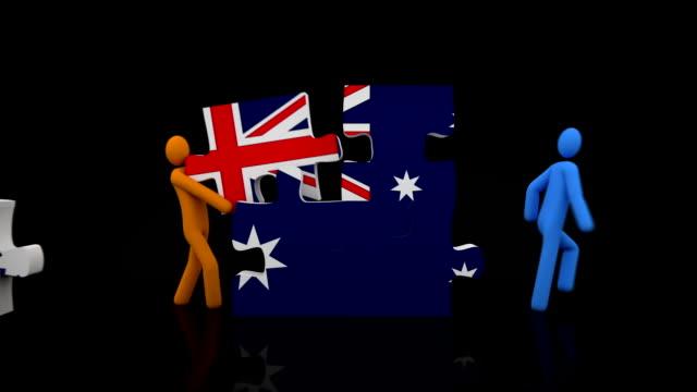 Australian flag puzzle. Black background. video
