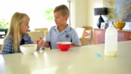 DOLLY SHOT: Australian kids having breakfast before school video