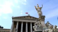 Austrian parliament with Pallas Athena statue, Vienna, video