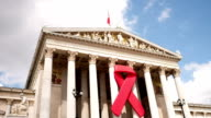 Austrian Parliament with red ribbon video