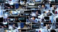 Auto mechanic shop. Video wall. video