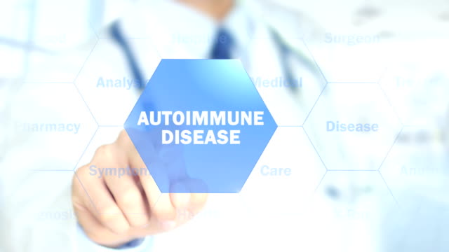 Autoimmune disease, Doctor working on holographic interface, Motion Graphics video