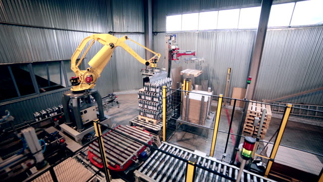 Automated Robotic Arm Loading, packing products. Modern industrial equipment video