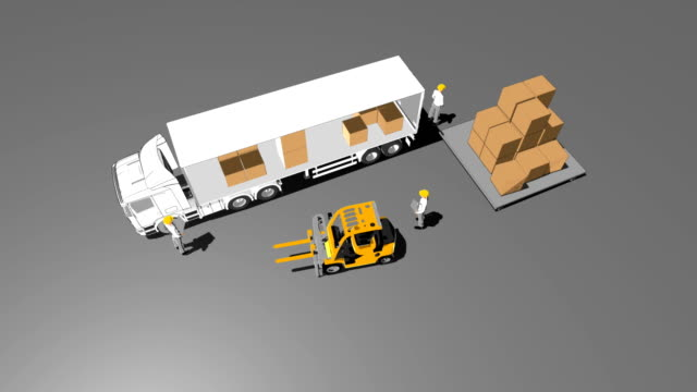 Automatic Delivery of goods on truck,cartoon style. top view. video