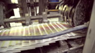 Automatic line with moving newspapers on machine in printing house video