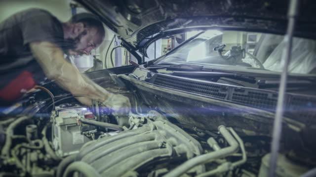 Automobile repair shop. 4K time lapse video video