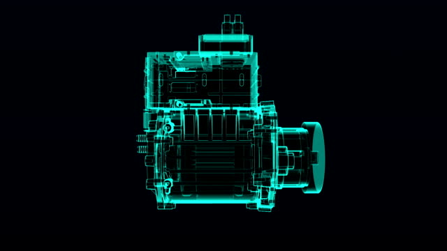 Automobile Technology. gathered parts and makes Engine X-ray animation. video