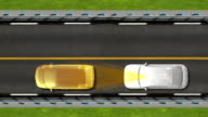 Automobile Technology. Road collision alert, Top view. video