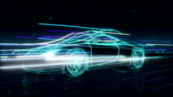 Automobile Technology. running car with line. 360 X-ray view. video