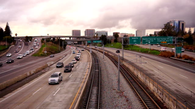 Automobiles Highway Rush Hour Public Transit San Jose California video