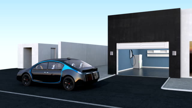 Autonomous car park to garage by automatic parking assist concept video