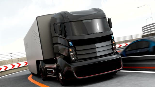 Autonomous hybrid truck driving on highway video