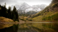 Autumn Early Snow Storm Maroon Bells Colorado Mountains and Aspens video
