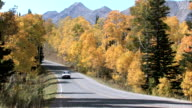 Autumn forest mountain car on road video