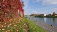 Autumn in Krakow close to the Vistula river video