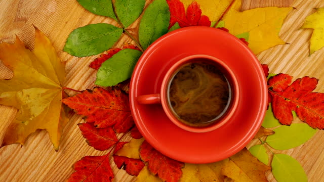 Autumn Leaves with Coffee. video