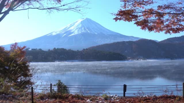 Autumn Season and Mountain Fuji with morning frog and red leaves at lake Kawaguchiko, Japan video