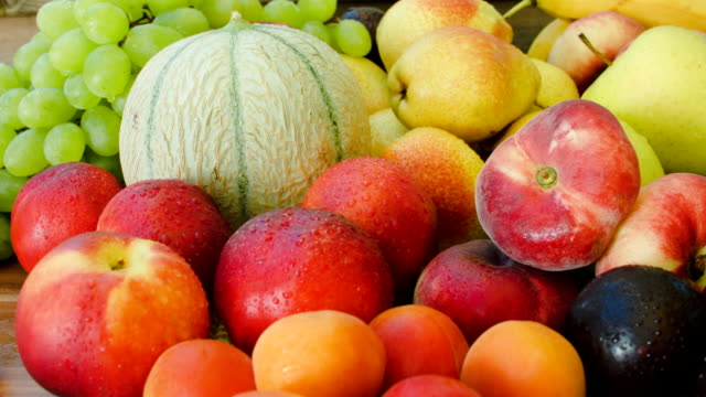Autumn still-life of fresh fruit closeup video