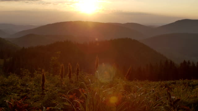 autumn sunrise in the mountains video