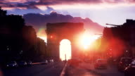 Avenue des Champs-Elysees with Arch of Triumph during sunset video