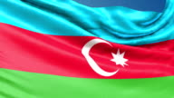 Azerbaijan Flag waving. 3d render seamless loop video