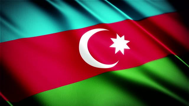 Azerbaijan realistic national flag seamless looped waving animation video