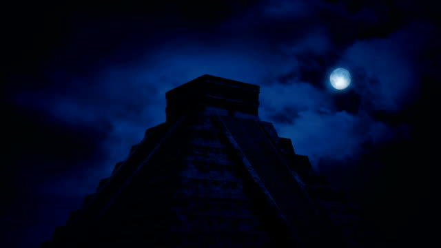 Aztec Pyramid In Jungle At Night video