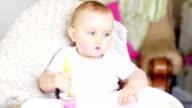 Baby Boy feeding himself video