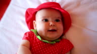 Baby girl in strawberry costume video