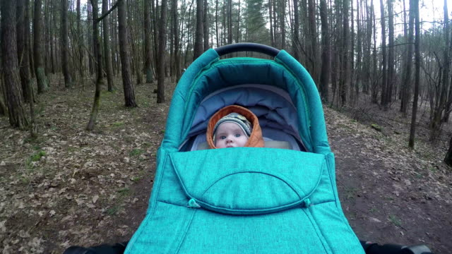 baby girl look around in the wood driving in buggy. video