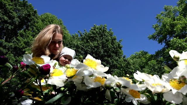 baby girl with mommy first time smell peony flower blooms FullHD video
