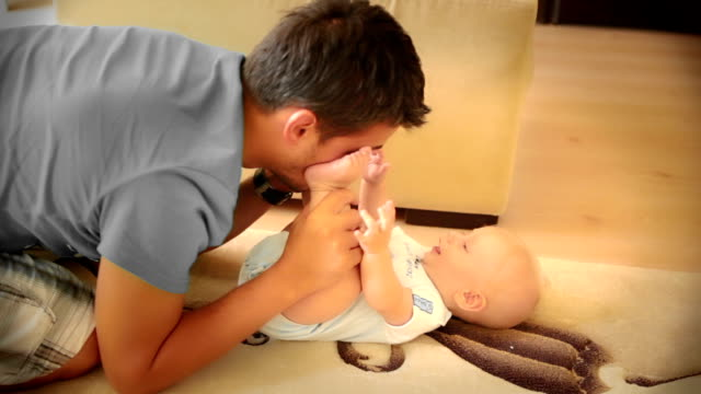 Baby play with his father video
