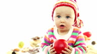 Baby playing with apple video