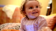 Baby using phone. Close up. video