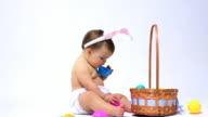 Baby with bunny ears and Easter basket video