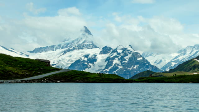 Bachalpsee under Jungfrau with dramatic sky video