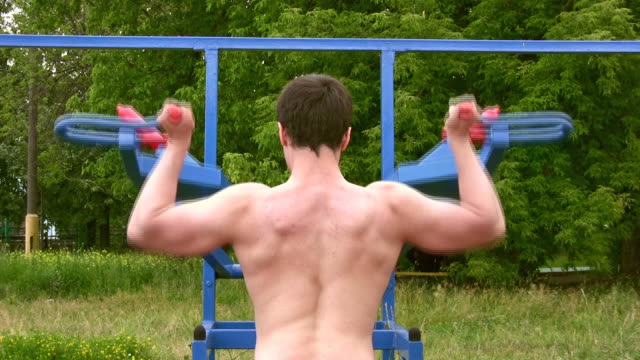 Back bodybuilder outdoor video